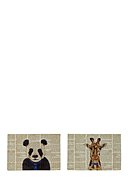REALLY NICE THINGS - Platzset Newspaper Animals, 2 Stück, B45 x L30 cm
