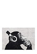 WALLSELECT - Wanddekoration Headphone Chimp-Wall, 91x61x3.5 cm