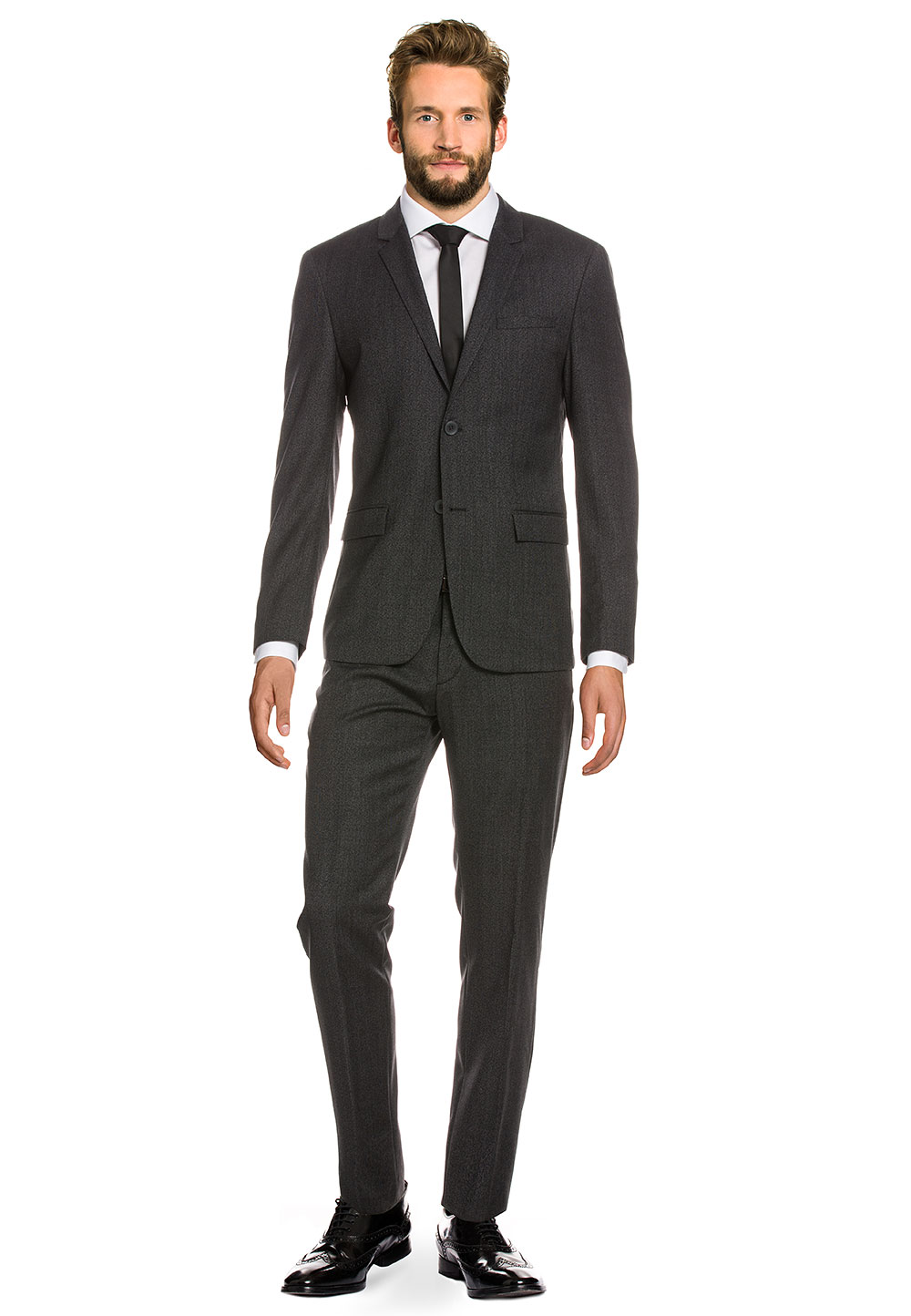 Calvin Klein Anzug, Wolle, Fitted Fit grau | Bekleidung > Anzüge & Smokings > Anzüge | Grau | Calvin Klein