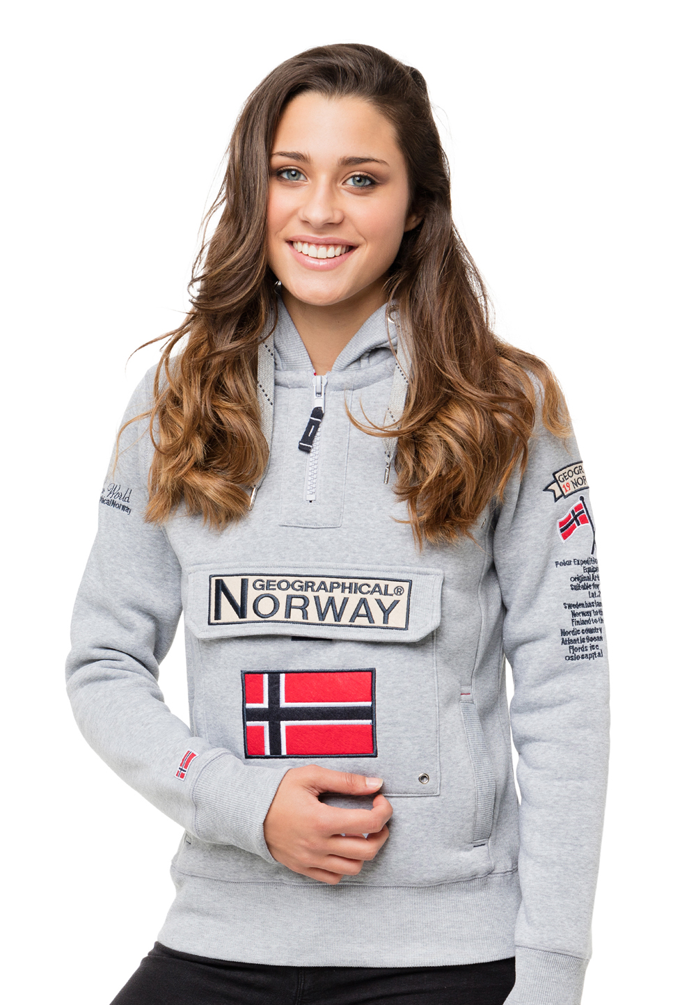 Geographical Norway Hoodie, Langarm, Kapuze grau | Bekleidung > Sweatshirts & -jacken > Hoodies | Grau | Geographical Norway