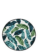 BUTTER KINGS - Teppich Blue And Green Leaves, Ø130 cm