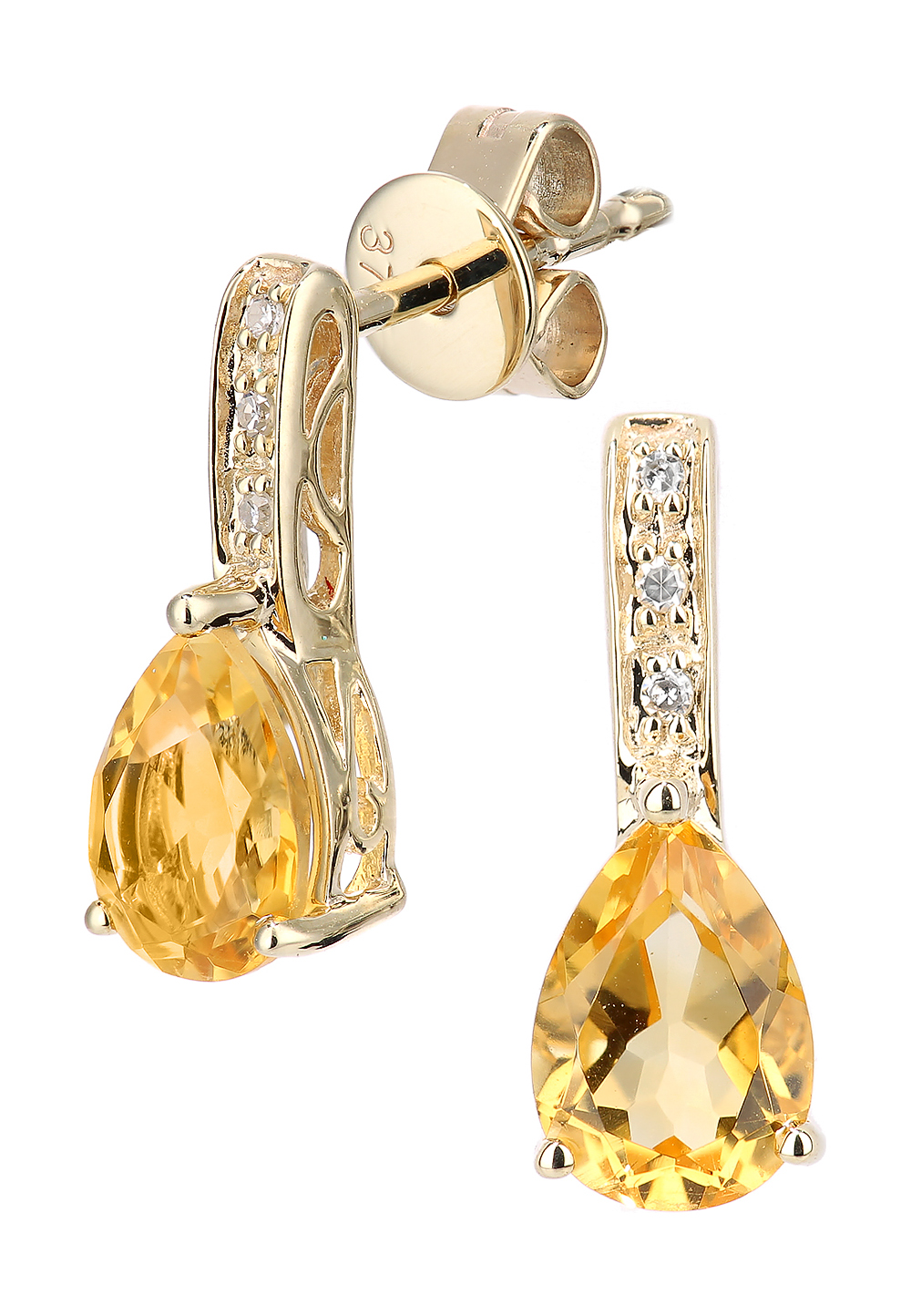 Rinani Ohrstecker, 375 Gelbgold, Diamant, Citrin | Schmuck > Ohrschmuck & Ohrringe > Ohrstecker | Gold | Rinani