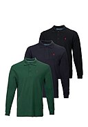 POLO CLUB - Polo-Longsleeve, 3er-Pack Rigby, Custom Fit